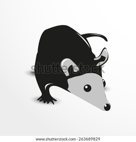 Vector opossum web flat icon illustration. - stock vector