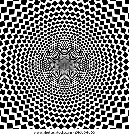 Vector optical illusion sharp lines black and white background - stock vector