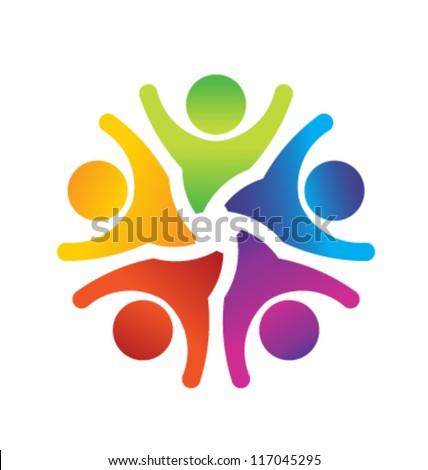 Vector Optimistic Teamwork Logo Template - stock vector