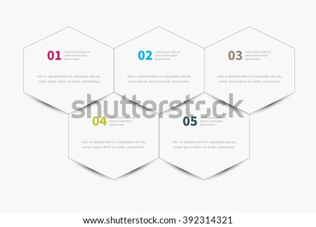 vector 5 options or steps with hexagon for business promo / infographics polygon background - stock vector