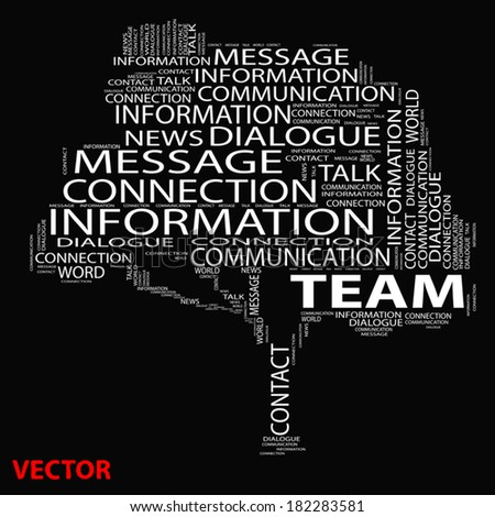 Vector or conceptual white tree word cloud on black background, metaphor for communication, speech, message, mail, relation, dialog, talk, report, contact, stair, climb, email, internet wordcloud - stock vector
