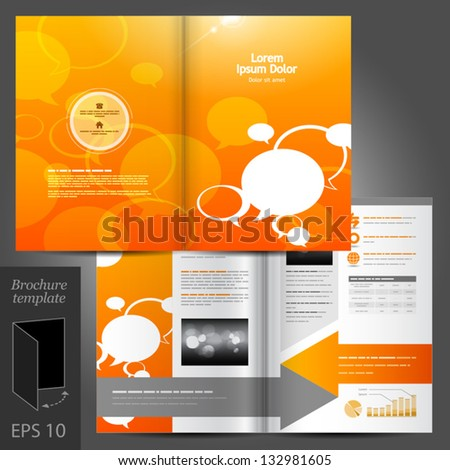 Vector orange brochure template design with text bubbles. EPS 10 - stock vector