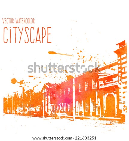 Vector orange grungy watercolor street view in Cuenca, Ecuador  - stock vector