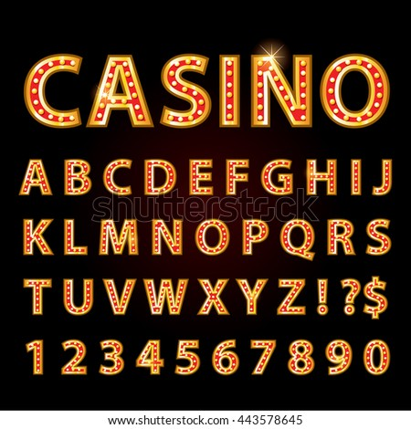 Vector orange neon lamp letters font show casino or theather - stock vector