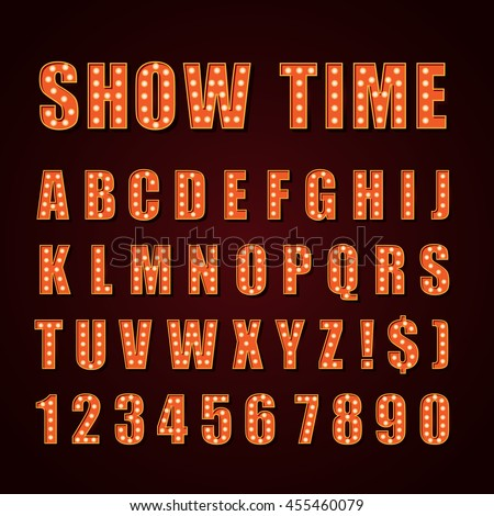 Vector orange neon lamp letters font show cinema or theather - stock vector