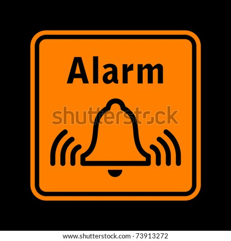 vector orange pictogram of alarm sign isolated on black - stock vector