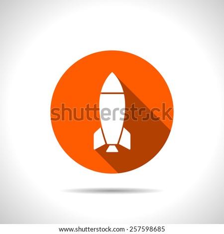 Vector orange Rocket Icon Isolated on White Background - stock vector