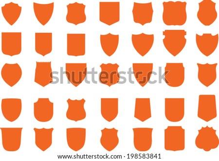 Vector Orange Shields Set, 35 shields - stock vector