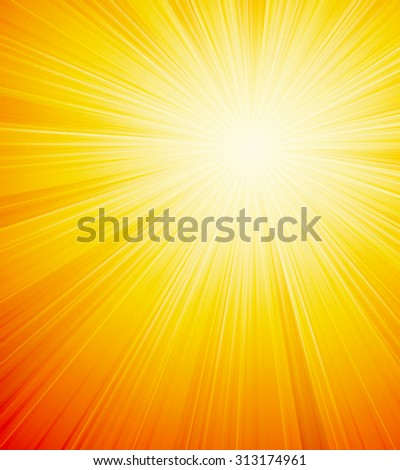 Vector orange shiny sun background with sunbeams, sunrays. - stock vector