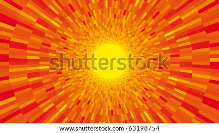 Vector orange sunburst. Shine background - stock vector