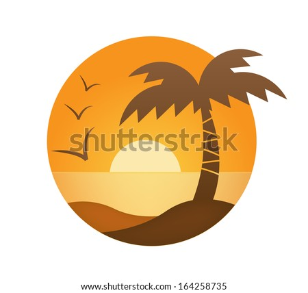 vector orange sunset, palm, sea in the circle - stock vector