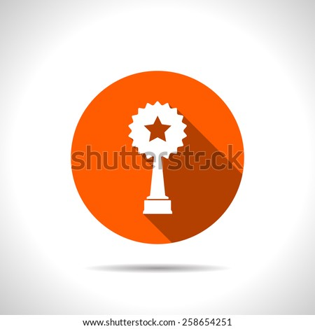Vector orange trophy and awards with star icon - stock vector