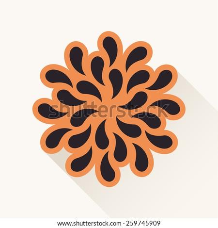 Vector orange vintage emblem logo. Silhouette plants drops paper brown - stock vector