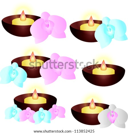 Vector Orchid flower with candle - stock vector