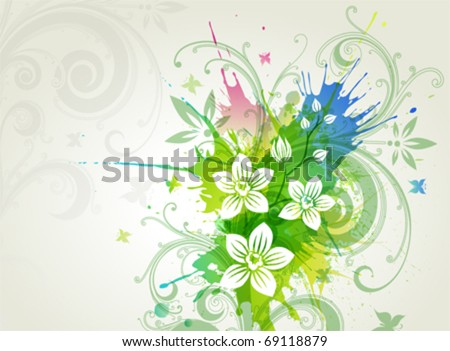 Vector orchid flowers on a grunge background - stock vector