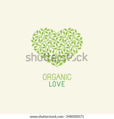 Vector organic and natural emblem and logo design template - green ecology concept or natural cosmetics - heart made with leaves - stock vector