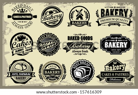 vector organic bakery labels set on grunge - stock vector