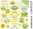 Vector Organic Food, Eco, Bio Labels and Elements. - stock vector
