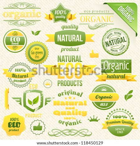 Vector Organic Food, Eco, Bio Labels and Elements. - stock vector