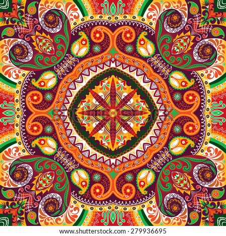 Vector oriental kerchief pattern - stock vector