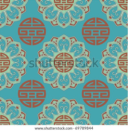 Vector Oriental Seamless Tile (wallpaper, background, pattern, texture)