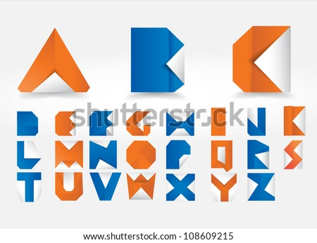 Vector origami alphabet letters - stock vector