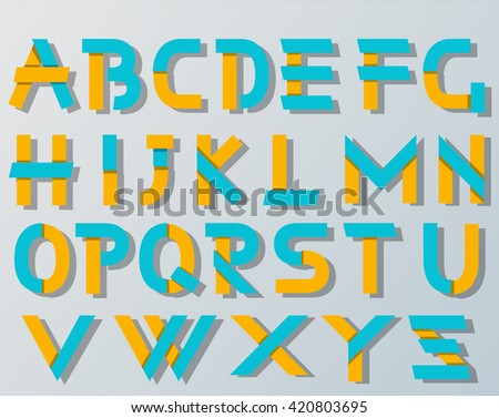 VECTOR ORIGAMI ALPHABET STYLE WITH SHADOWS BLUE AND YELLOW - stock vector