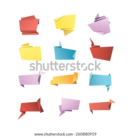 Vector Origami Banner Speech Bubble Paper Set Isolated on White Background - stock vector