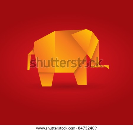 Vector origami elephant - stock vector