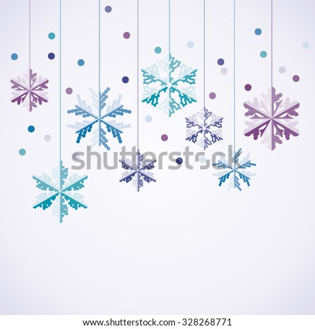 vector origami hanging snowflakes - stock vector