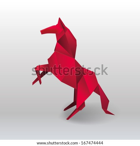 Vector Origami Horse Stock 167474444