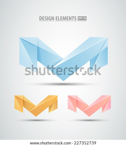 Vector origami icons. Design logo elements. Abstract icons design - stock vector