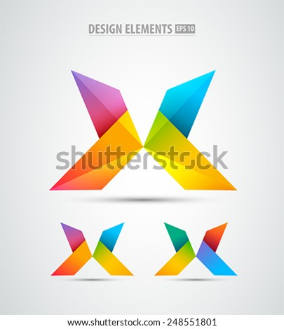 Vector origami logo icons. Design elements. Abstract letter X icon - stock vector