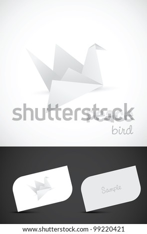Vector origami paper bird icon such logo and business card templates