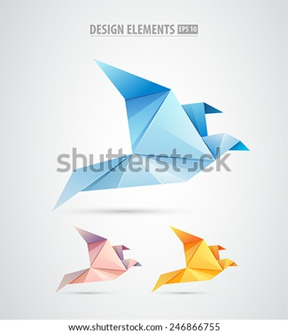 Vector origami paper bird Logo. Abstract bird icons isolated on white