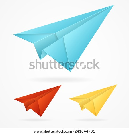 Vector origami paper blue, red, yellow airplane on white background isolated - stock vector
