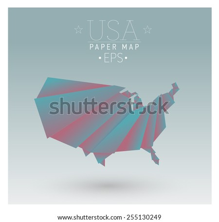 vector origami paper cut united states map - stock vector