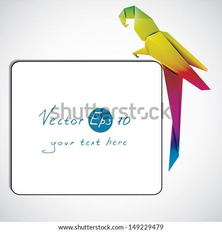 Vector origami parrot on corner decoration. - stock vector