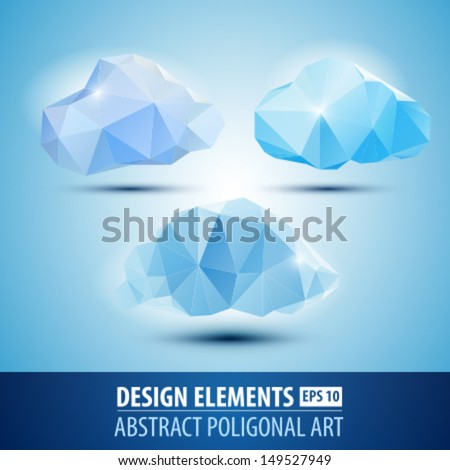 Vector origami polygonal clouds. Abstract weather - stock vector
