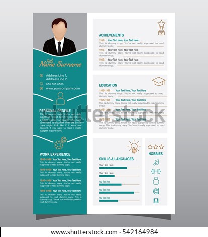 Vector Original Minimalist Cv Resume Template Stock Vector Royalty