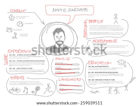 Vector original minimalist cv / resume template - creative doodle version - stock vector