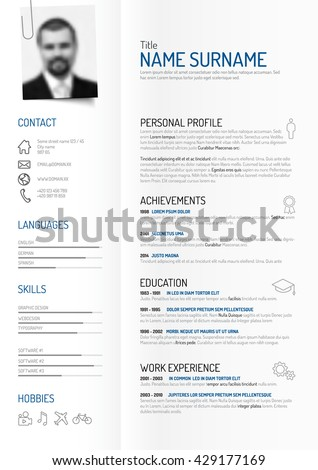 Vector original minimalist cv / resume template - creative version on folded paper with clipped photo profile - stock vector