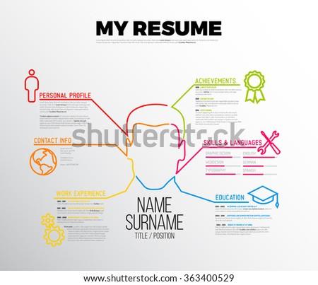 Vector original minimalist cv / resume template - creative version with big avatar - stock vector