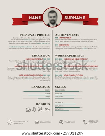 Vector original minimalist cv / resume template - retro version