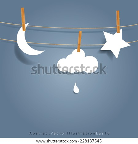 vector original symbolic abstract illustration with moon, cloud and star on rope - stock vector