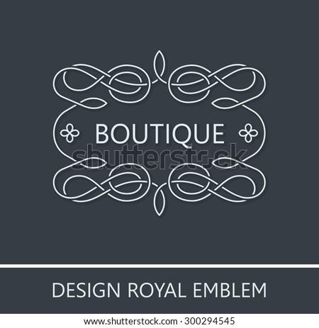 Vector ornament emblem baroque royal. Logo ornate decor elements. Vintage vector symbol ornament - stock vector