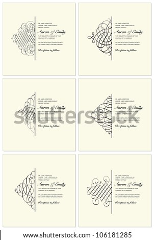 Vector Ornament Frame Set. Easy to edit. Perfect for invitations or announcements. - stock vector