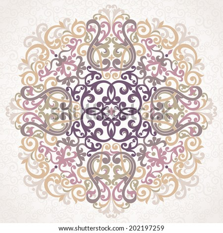 Vector ornament in Eastern style. Ornate element for design in Moroccan style. Ornamental lace pattern for wedding invitations and greeting cards. Traditional grey decor on light background. - stock vector