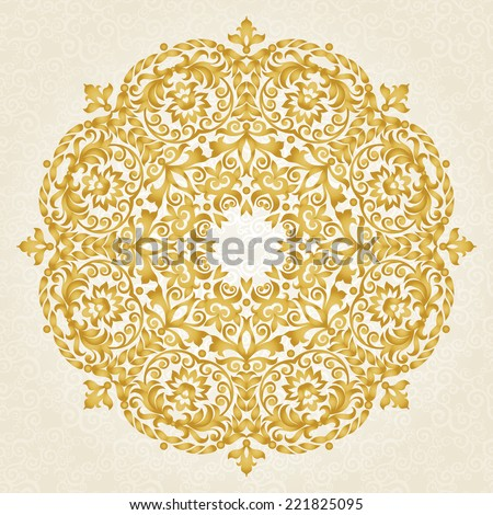 Vector ornament in Victorian style. Ornate baroque element for design, floral decoration. Ornamental lace pattern for wedding invitations, greeting cards. Traditional golden decor on light background. - stock vector