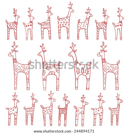 Vector ornament. Outlined pattern with red rein deers wearing different sweaters with an ornament. Contour for coloring book. - stock vector